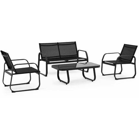 Salon de jardin 4 places en textilène - Noir - 103575
