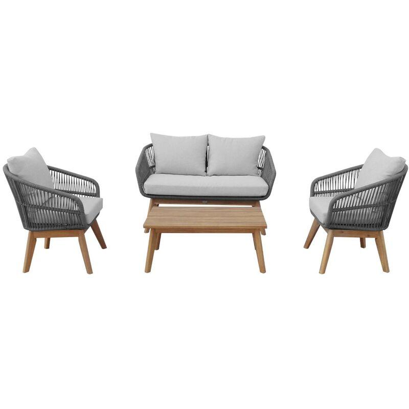 Salon de jardin 4 places – ROSARIO – en corde tressée, bois et aluminium,  gris / coussins gris chiné