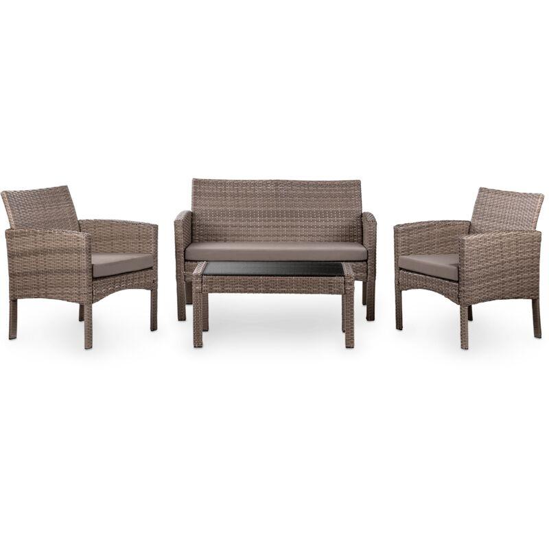 Mc Haus - Salon jardin 4 places, rotin synthetique marron, table basse d'exterieur + canape 2 places + 2 fauteuils avec coussins impermeables, set