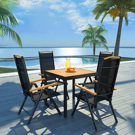 Salon de jardin 5 pcs avec chaises pliables Aluminium Noir