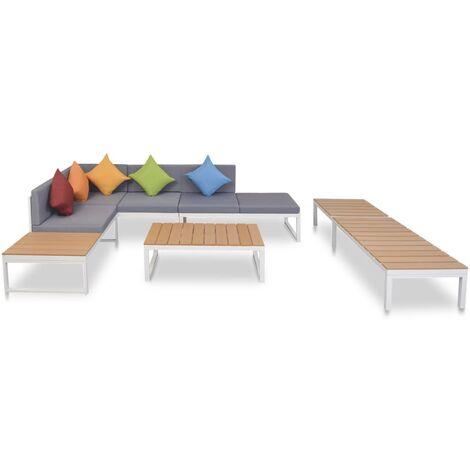 Salon de jardin 5 pcs avec coussins Aluminium et WPC