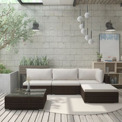 Salon de jardin 5 pcs avec coussins Résine tressée Marron