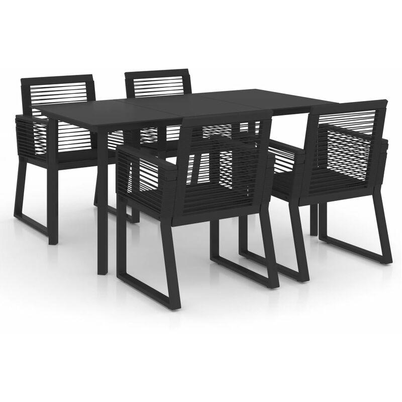 Salon de jardin 5 pcs Rotin PVC Noir