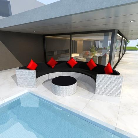 Salon de jardin 5 pers. en rotin synthétique blanc et coussins noir ...