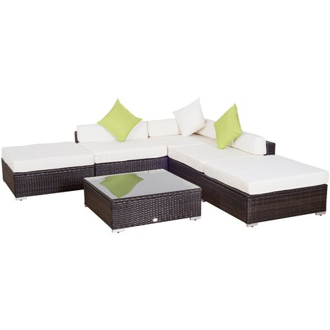 Salon de jardin 5 pers. grand confort canapé d\'angle + table basse + ...