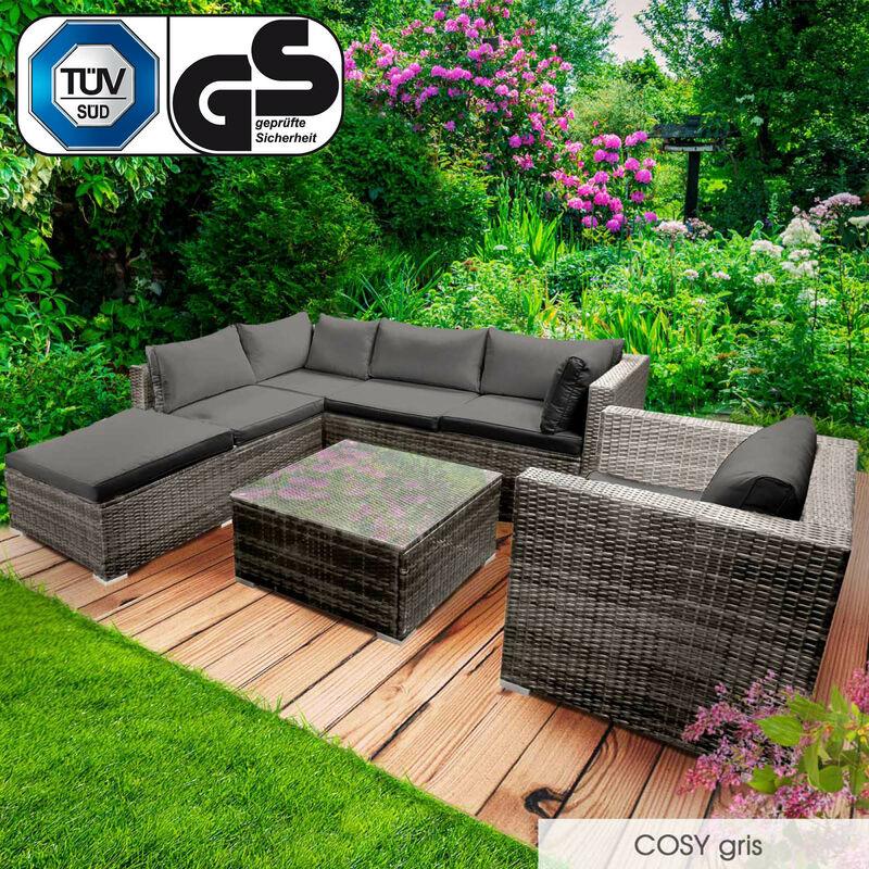 Brast - Salon de jardin 5 personnes, rotin tressé alu, COSY gris très fin et élégant, confortable, résistant, lavable - salon bas de