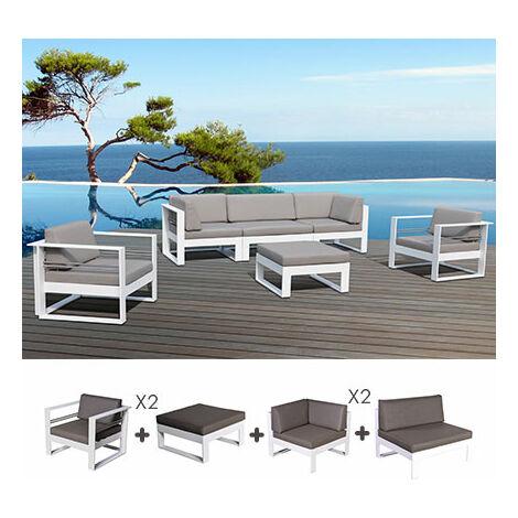 Salon de jardin 5 place en aluminium blanc et coussins gris