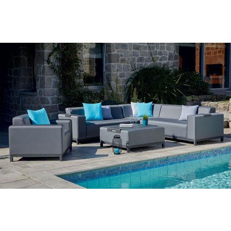 Salon de jardin 5 places avec 1 table, coloris gris anthracite -PEGANE-