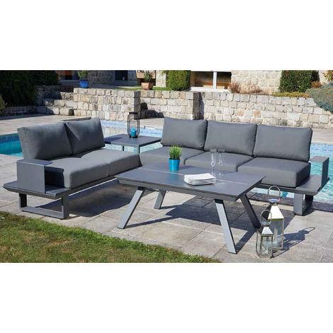 Salon de jardin 5 places en aluminium avec 1 table, coloris gris anthracite  -PEGANE-