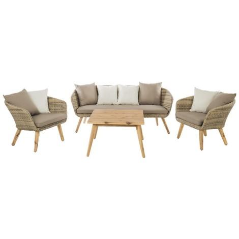 Salon de jardin 5 places en résine tressée beige + table ...