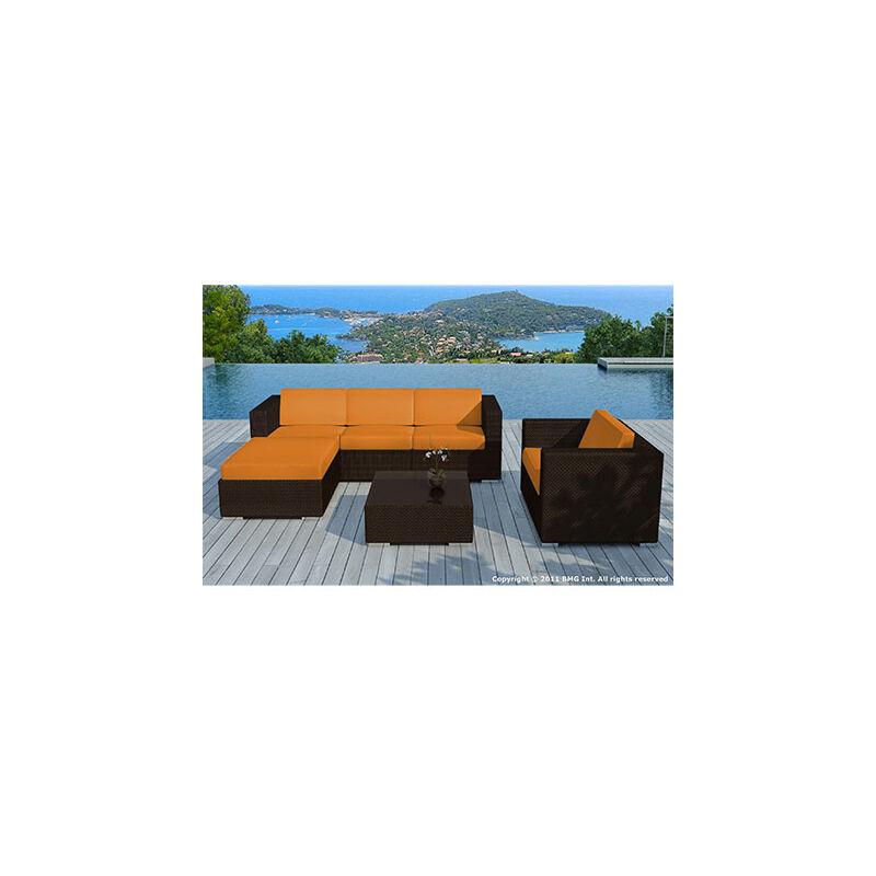 Salon de jardin 5 places en résine tréssée marron et coussins oranges