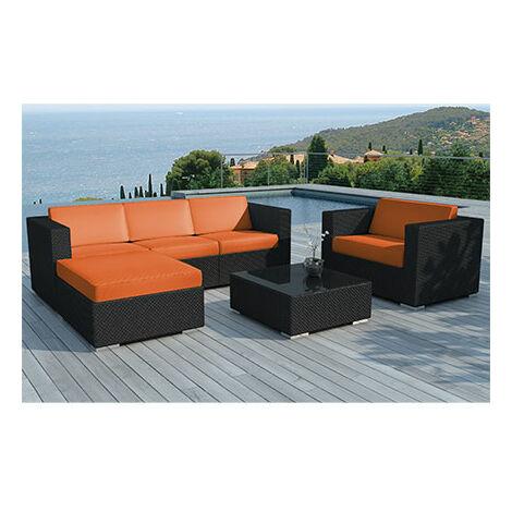 Salon de jardin 5 places en résine tréssée noire et coussins oranges