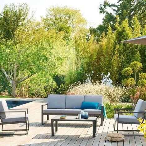 Salon de jardin 5p Unione graphite Hespéride - Gris clair