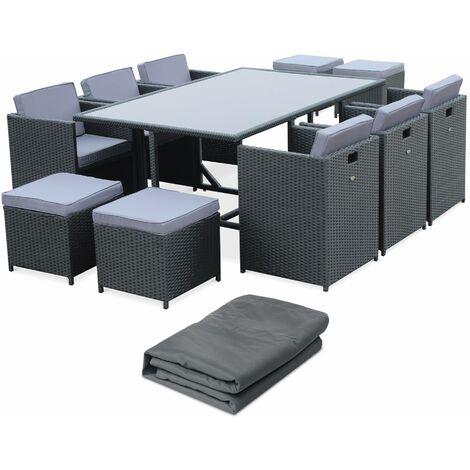 Salon de jardin 6-10 places - Vasto avec housse - Coloris noir, Coussins gris, table encastrable