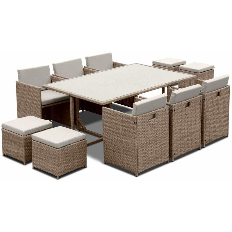 Salon de jardin 6-10 places - Vasto - table encastrable Beige / Beige