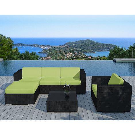 Salon de jardin 6 éléments en résine noire coussins verts - SD8201 ...