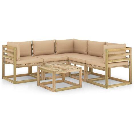Salon de jardin 6 pcs avec coussins beige