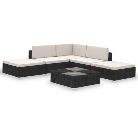 Salon de jardin 6 pcs avec coussins Résine tressée Noir
