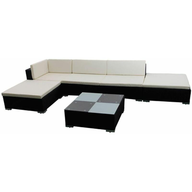 Youthup - Salon de jardin 6 pcs Canapé et table basse de jardin avec coussins Résine tressée Noir