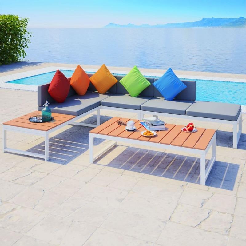 Salon de jardin 6 pers. en aluminium et bois blanc/marron et coussin gris -  MJ42867