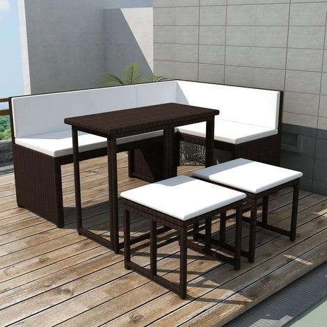 Salon de jardin 6 pers. en rotin synthétique brun et coussins crème ...