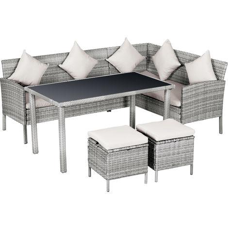 Salon de jardin 6 pers. grand confort canapé d'angle + 2 poufs + table à manger 9 coussins assise & dossier fournis résine tressée grise