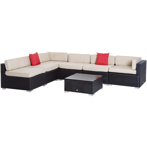 Salon de jardin 6 pers. grand confort canapé d\'angle + table basse + ...