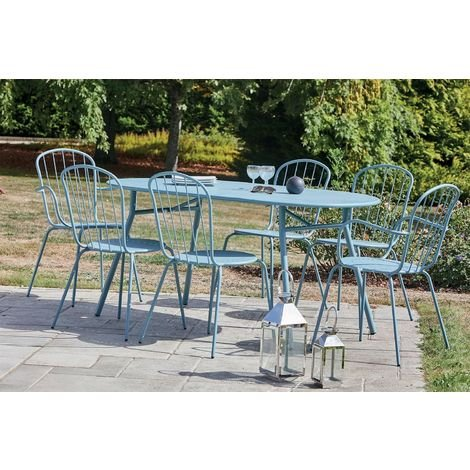 Salon de jardin 6 personnes en acier coloris bleu Tivoli