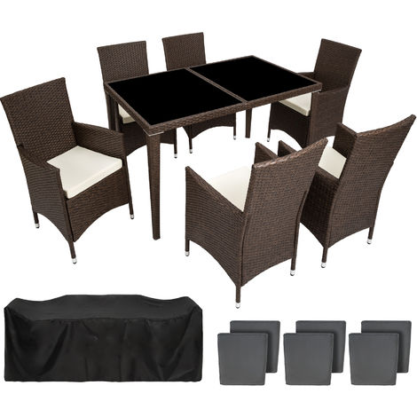 Salon de Jardin 6 Places avec 1 Table à manger en Résine ...