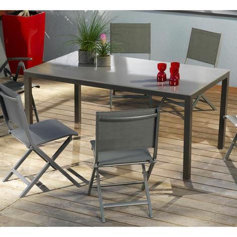 Salon de jardin 6 places CREATION en aluminium et textilène taupe -  Proloisirs