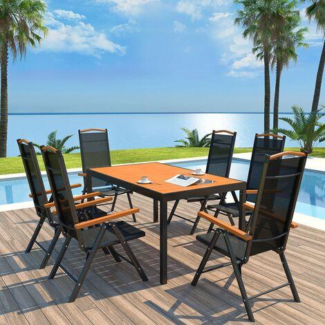 Salon de jardin 7 pcs avec chaises pliables Aluminium Noir