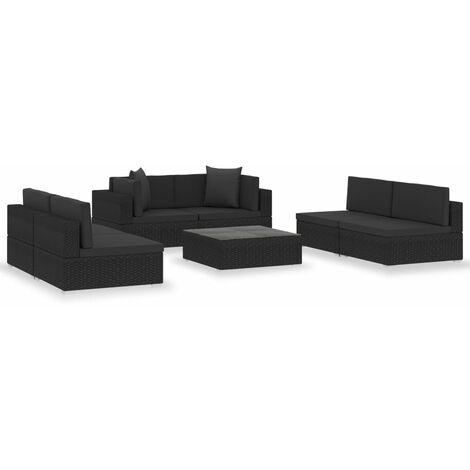 Salon de jardin 7 pcs avec coussins Noir Résine tressée