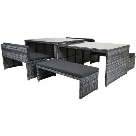 Salon de jardin 8-10 places tables avec en verre/bancs rotin ...