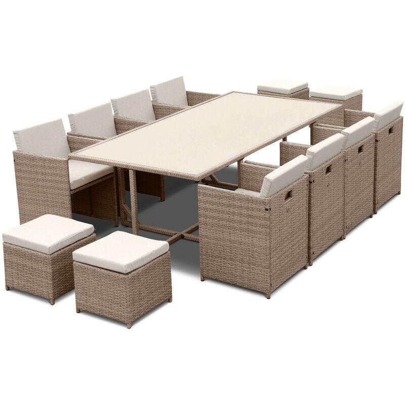 Salon de jardin 8-12 places – Vabo – table encastrable Beige / Beige
