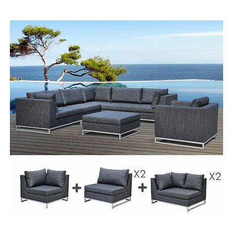 salon de jardin 8 10 personnes en aluminium anthracite. Black Bedroom Furniture Sets. Home Design Ideas