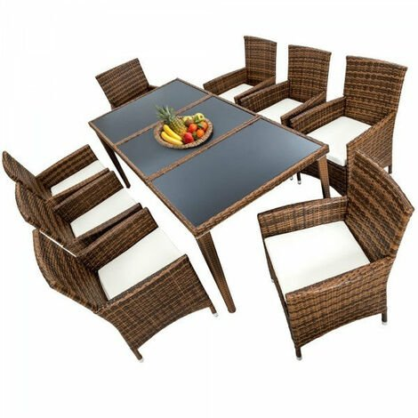 Salon de jardin 8 chaises rotin résine tressé synthétique marron + coussins + housses