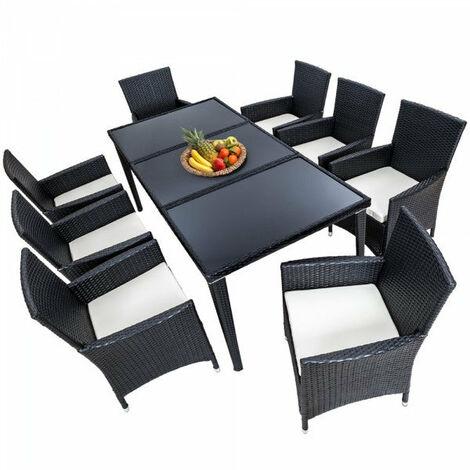 Salon de jardin 8 chaises rotin résine tressé synthétique noir + ...