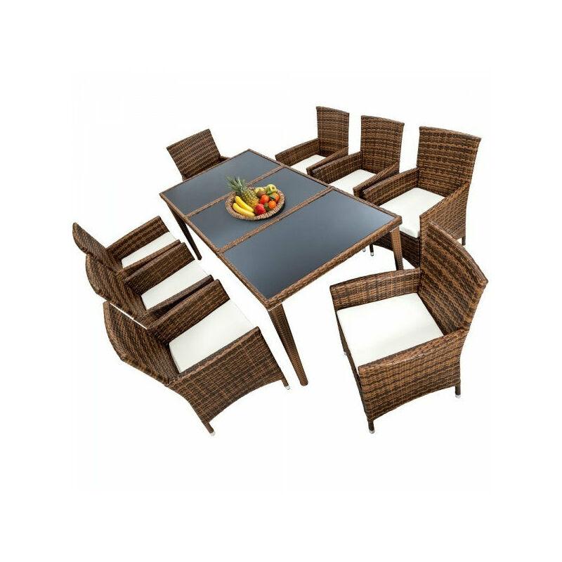 Helloshop26 - Salon de jardin 8 chaises rotin résine tressé synthétique marron + coussins + housses - Marron