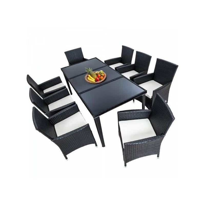 Salon de jardin 8 chaises rotin résine tressé synthétique noir + coussins + housses - Noir