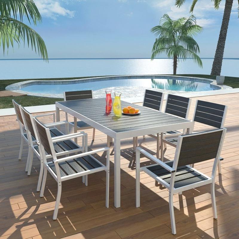 Salon de jardin 8 pers. en aluminium et bois blanc/noir - MJ42813
