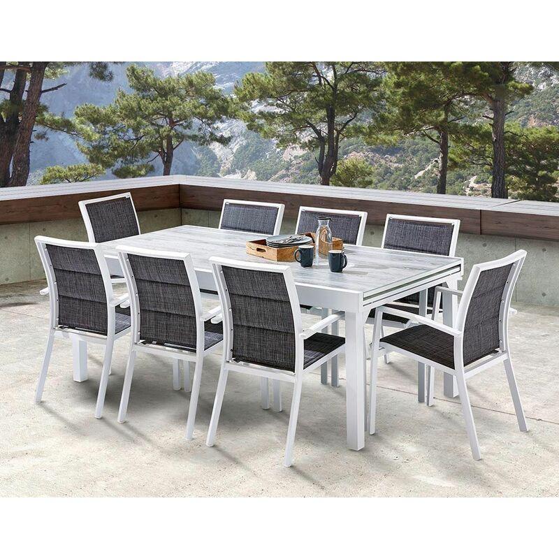 Salon de jardin 8 fauteuils Modulo - Blanc (structure)