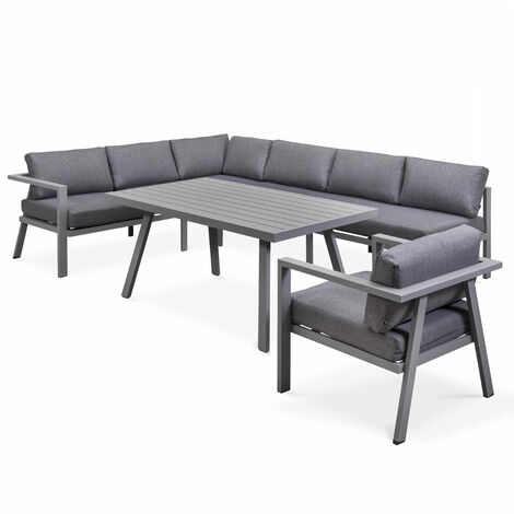 Salon de jardin 8 places en aluminium - Gris - 104182
