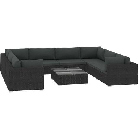 Salon de jardin 9 pcs avec coussins Résine tressée Noir