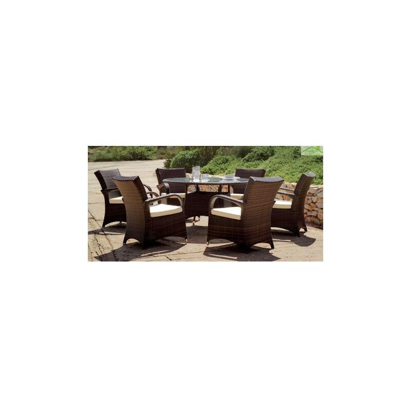 Salon de jardin à table ronde SET OREGON HEVEA 6 places Ø 140 cm