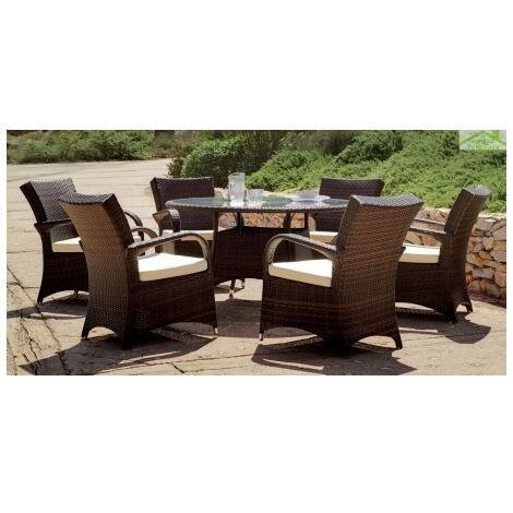 Salon De Jardin A Table Ronde Set Oregon Hevea 6 Places O 140 Cm