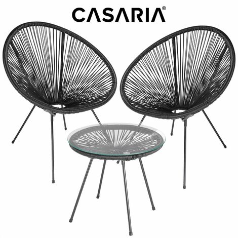 Salon de jardin »Acapulco« 1 table 2 chaises ensemble de jardin balcon noir