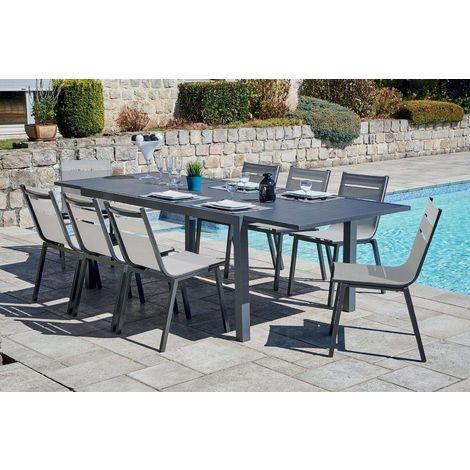 Salon de jardin alu moderne 8 chaises Guethary Table anthracite + ...