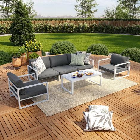 """main image of """"Salon de jardin aluminium 5 Places couleur blanc gris - VINCENNES - Blanc"""""""