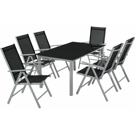 Salon de jardin aluminium 6 places gris clair - Gris