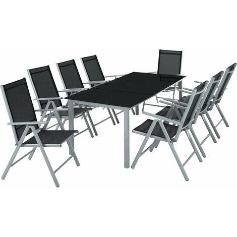 Salon de jardin aluminium 8 places gris clair - Gris
